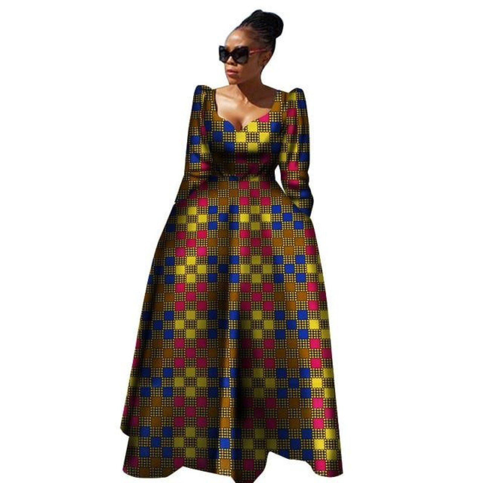 f4666ddac120d4 Yobecho Womens African Print Dashiki Dress Long Fit and Flare Crop Top  Skirt Outfits Maxi Dress with Pockets at Amazon Women s Clothing…