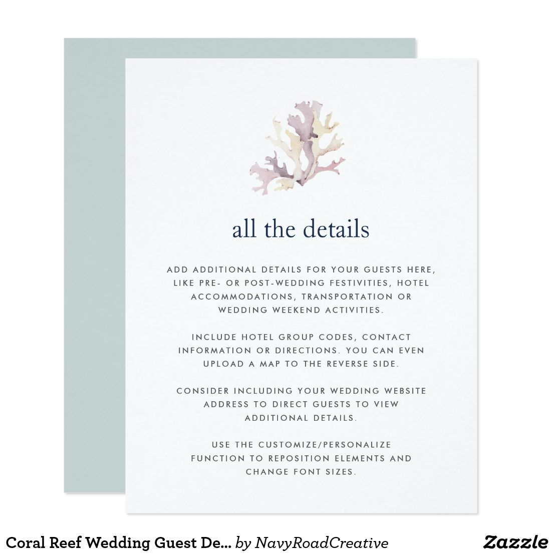 Coral Reef Wedding Guest Details Card | Pinterest | Coral reefs ...