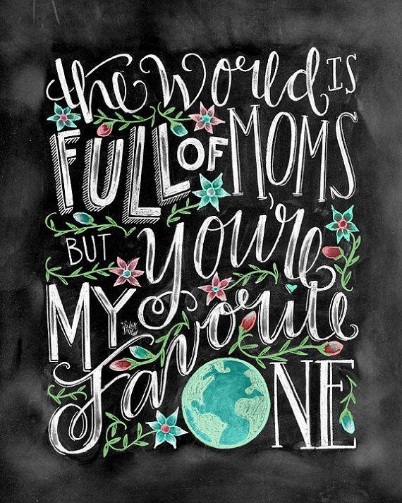 Mom Gift Chalk Art Mothers Day Gift Chalkboard Art by TheWhiteLime