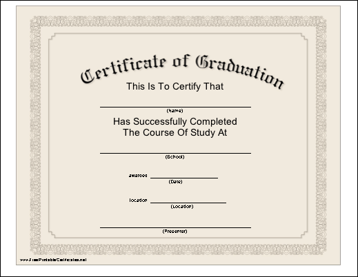This formal classiclook printable certificate serves as a – Graduation Certificate Template Free