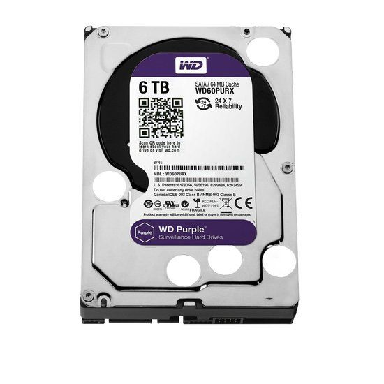 "Western Digital Purple 3.5/"" 6TB 5400RPM 6Gbps 64MB SATA HDD Hard Drive WD60PURX"