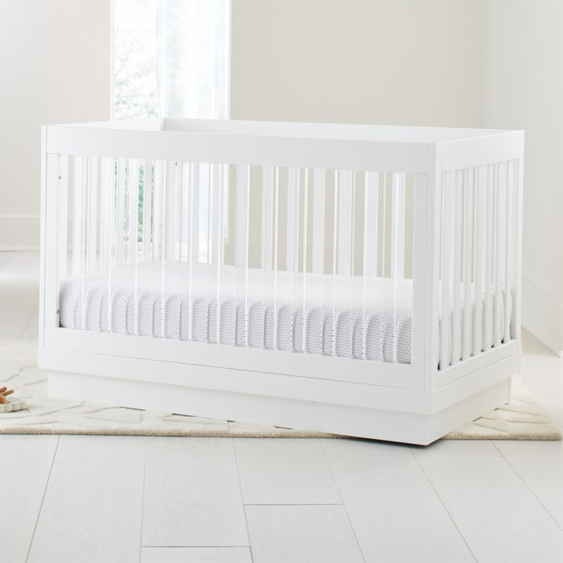 Babyletto Harlow Acrylic And White 3 In 1 Convertible Crib Crate And Barrel Convertible Crib