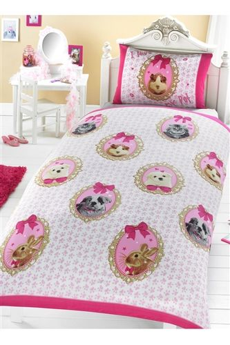 I Love My Pets Single Duvet Pink Bedding For S With Tiny Animal Footprints
