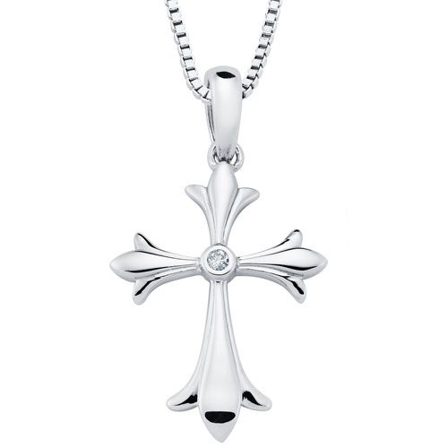 27393b3fe01f6d Sterling Silver Diamond Cross Pendant .01 ct with 18