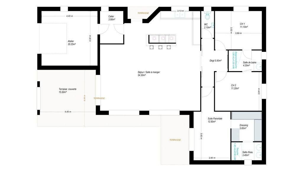 Modèles et plans de maisons u003e Modèle de plain-pied Pauillac