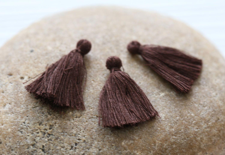 Mini Tassels, 5 Pieces Tiny Brown Tassels - Cotton Tassels - PS030