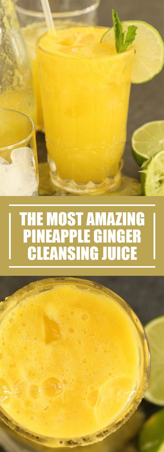 ★★★★★ 63 reviews:The Most Amazing Pineapple Ginger Cleansing Juice | This Pineapple Ginger Cleansing Juice is loaded with anti-inflammatory, digestive-boosting and liver cleansing properties. It's a fresh juice blend made with pineapple, ginger root, turmeric and lime. Ir's both delicious and super nutritious.  |