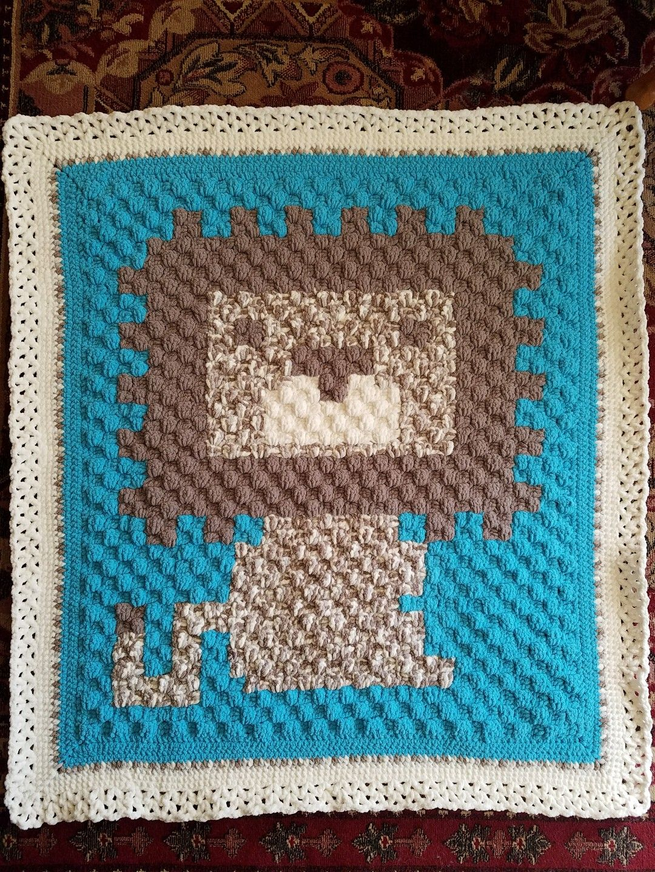 C2C Lion graph character baby blanket, aphgan, graphgan, Corner to ...