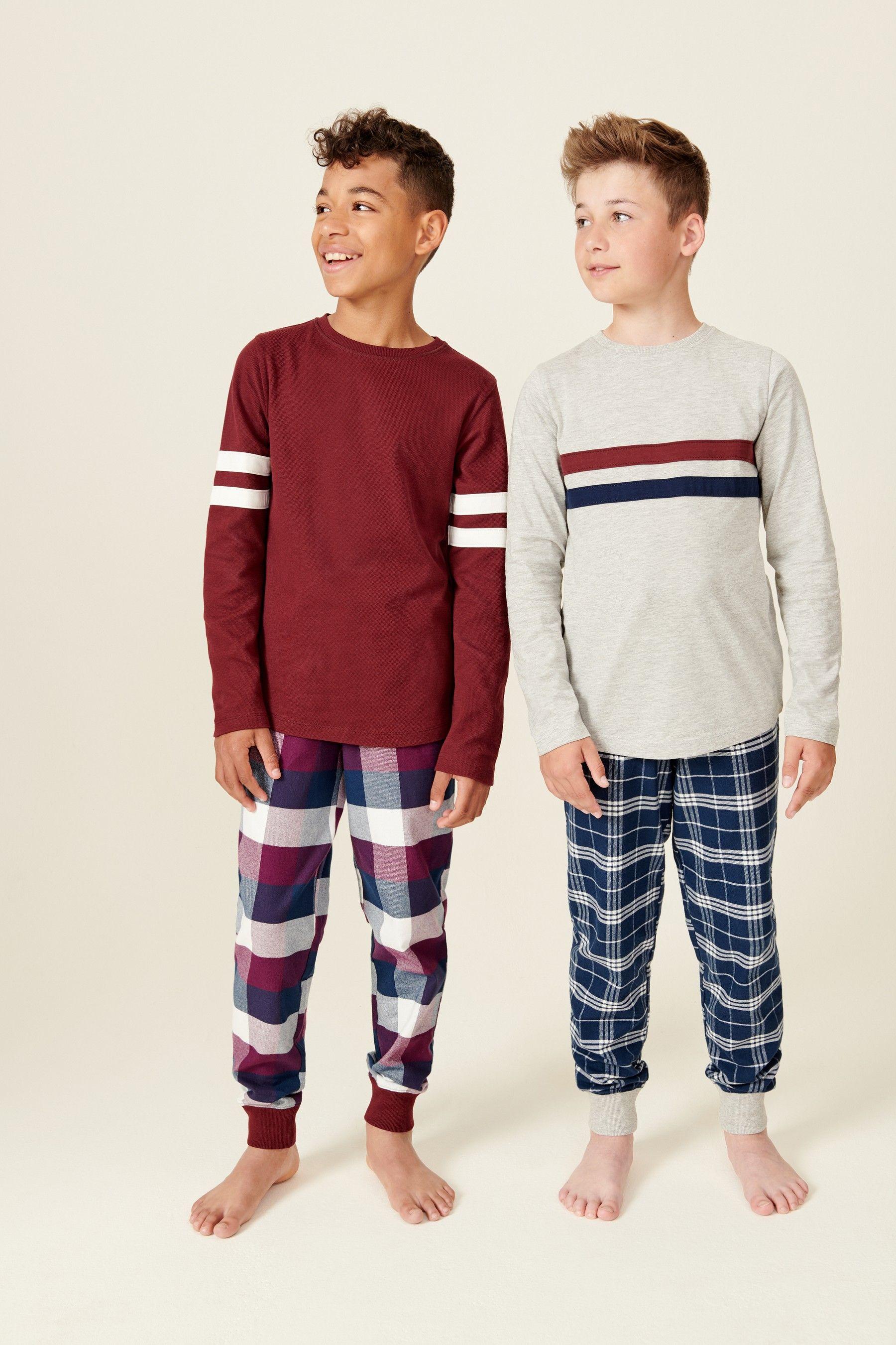2 Pack Waffle Top Check Woven Pyjamas (3-16yrs)   Boys nightwear, Kids  nightwear, Boys pajamas