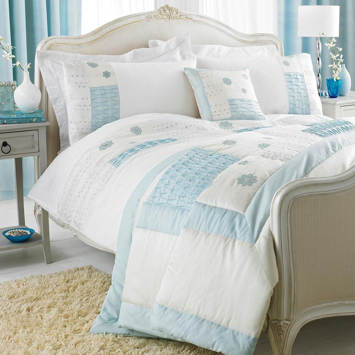 Paoletti New Freya Bedding Set In Duck Egg Blue Next Day Delivery