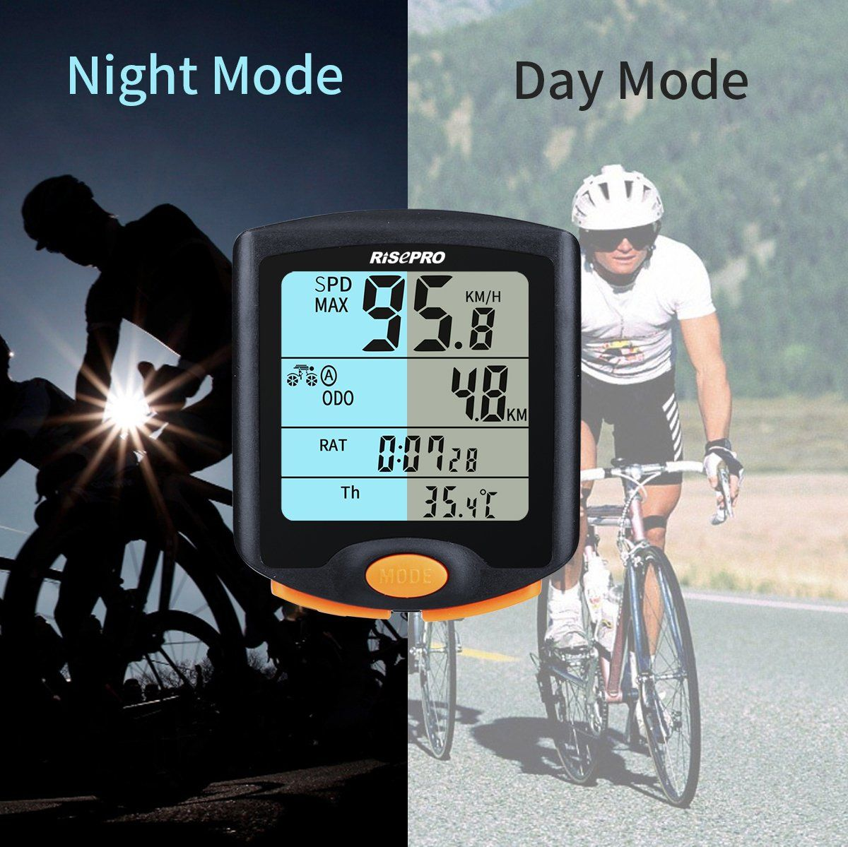 Risepro Bike Computer Wireless Bicycle Speedometer Bike Odometer