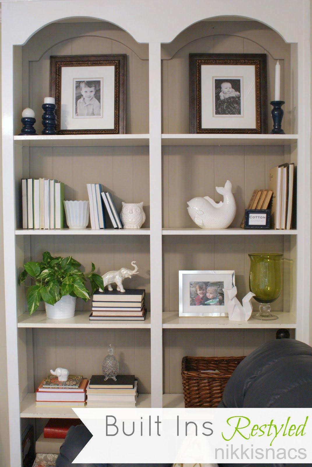 The Built Ins Restyled Shelf Decor Living Room Bookshelves In Living Room Built In Shelves Living Room