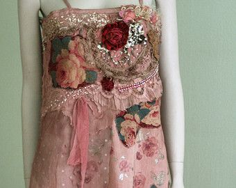 Ruby rose-- -rustic antique  tunic, chemise, nuisette, antique and vintage lace, embroidery, beading