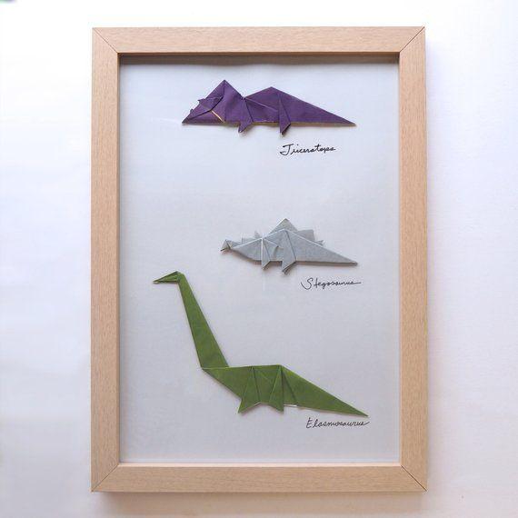Photo of Framed Handmade Origami, Dinosaurs, Triceratops, Stegosaurus, Elasmosaurus, Personalised Gift, Customisable Gift, Gift Ideas for Kids