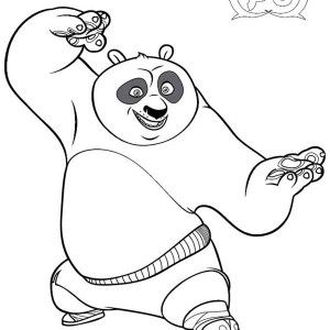 Kung Fu Panda Po Is Excited To Fight In Coloring Page