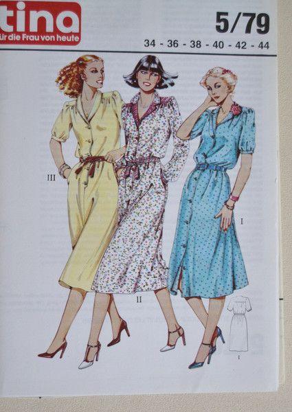 Vintage Schnittmuster - Vintage-Schnittmuster Tina 5/79 Kleid von ...