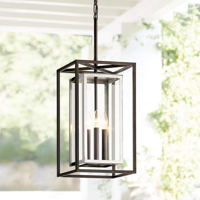 Morgan 28 1 4 H Bronze And Polished Outdoor Hanging Light 45d47