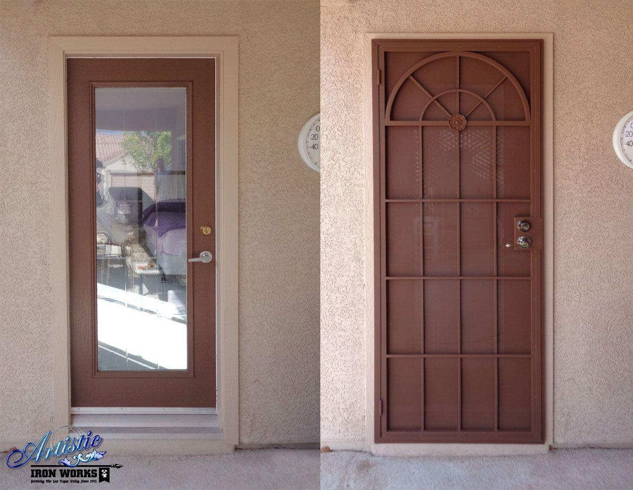 Before After Installation Of Wrought Iron Security Screen Door Security Door Design