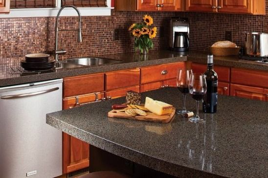 Engineered Quartz is a great choice for countertops! Pros: Low-maintenance (doesn't need sealing or resealing) has a rich consistent look and is hard and durable. Cons: Can be damaged by heat and seams may be visible