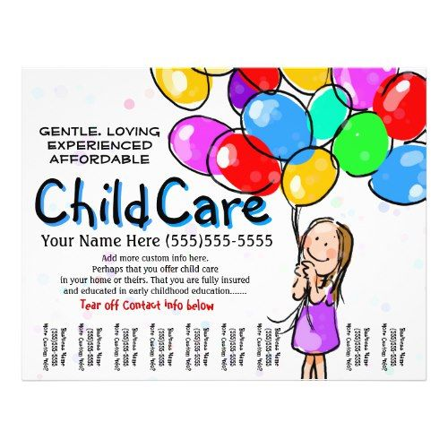 Child Care Babysitting Day Care Promo Flyer Babysitting and Child - child caretaker sample resume