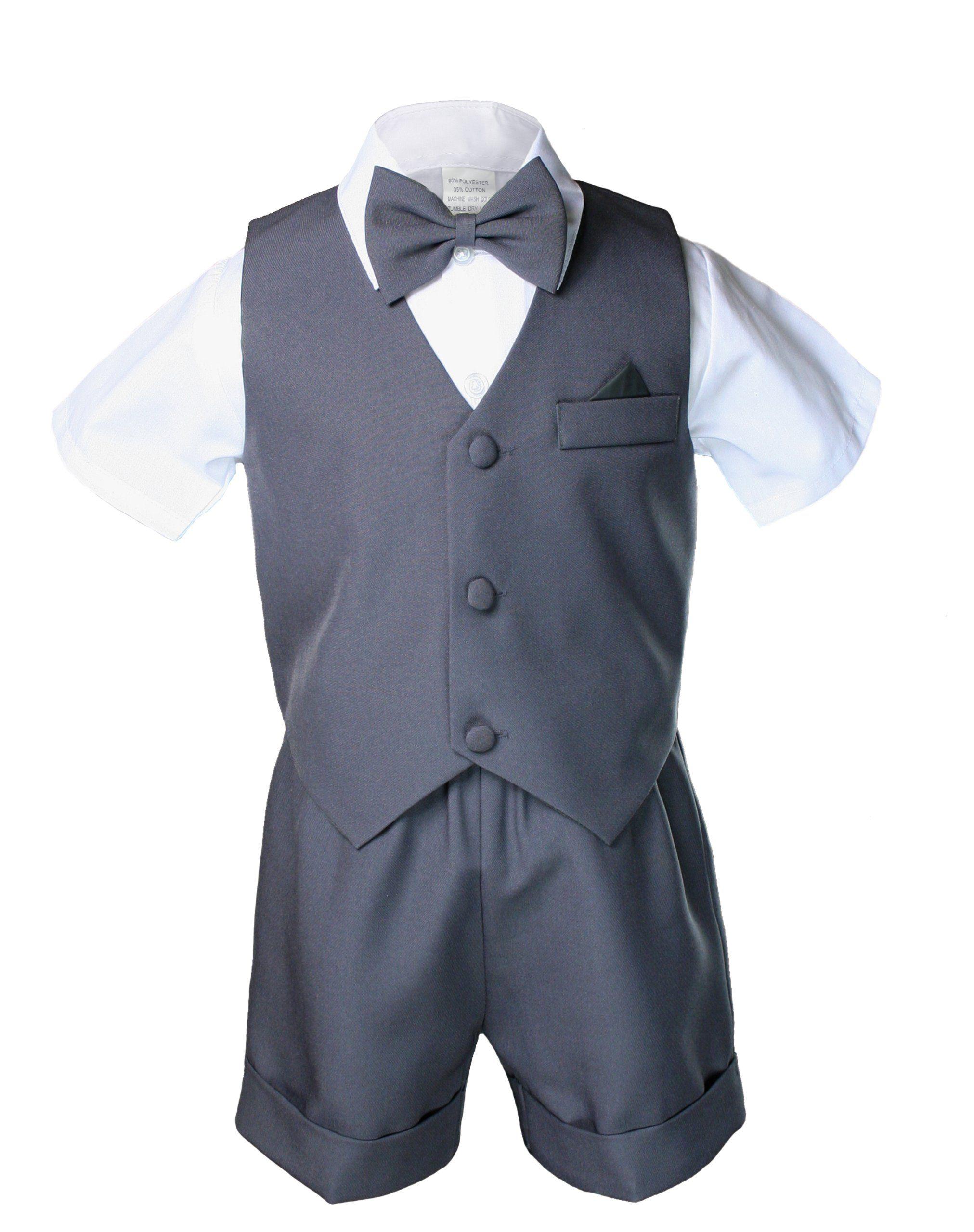 b99f4897fabd Dark Gray Grey Infant Boy Toddler Eton 5pc Formal Vest Shorts Set ...