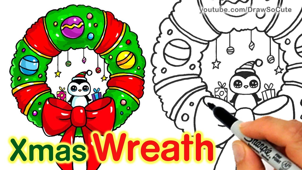 How to Draw a Christmas Wreath and Bow step by step Easy