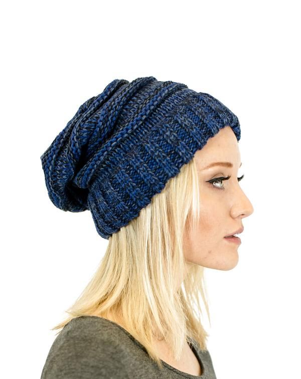 b63150d65ce0a Unisex Two Toned Mix Knit Oversized Slouchy Beanie
