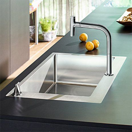Here, the control unit is installed on the front rim of the sink