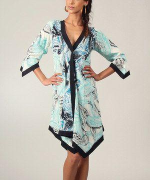 Aller Simplement Blue & Black Paisley Handkerchief Dress by Aller Simplement #zulily #zulilyfinds