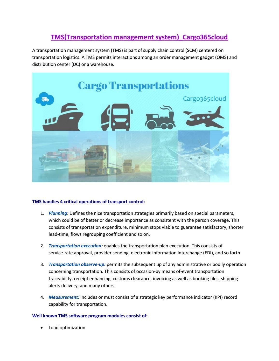 Tms system cargo365cloud   Cargo365cloud   Management