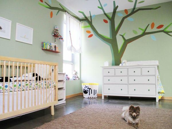 kinderzimmer ideen wandgestaltung babyzimmer wandmalerei baum, Schlafzimmer