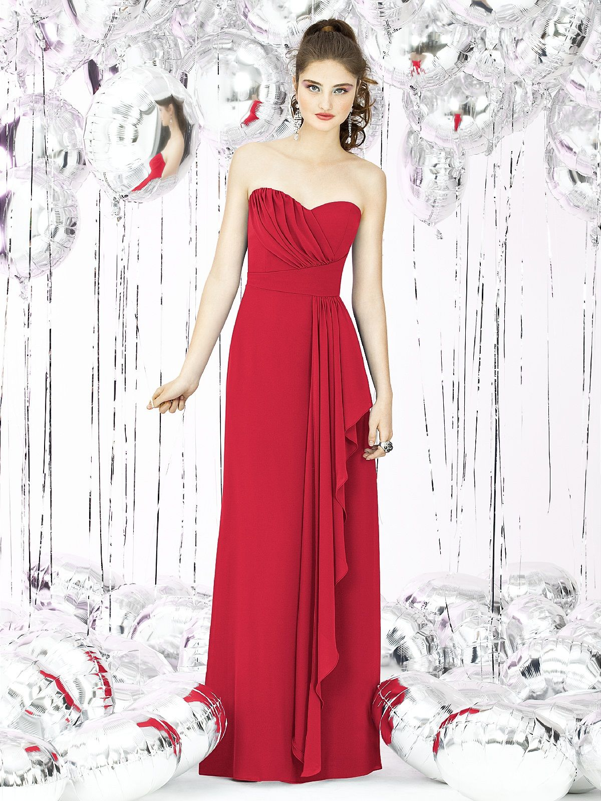 Long red bridesmaid dress maybe if it was purple dresses