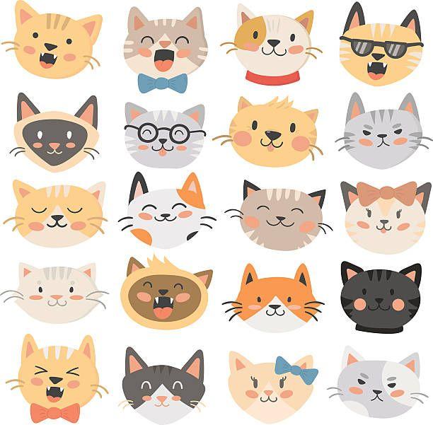 Cats Heads Emoticons Vector Ilustracao De Arte Vetorial Adesivos De Gato Desenhos De Gatinhos Fofos Ilustracoes De Gato