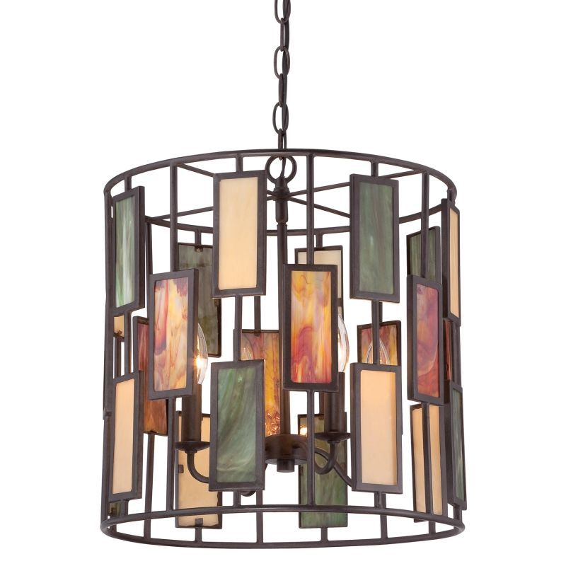 quoizel tf1783 tiffany 4 light pendant with tiffany stained glass imperial bronze indoor lighting pendants