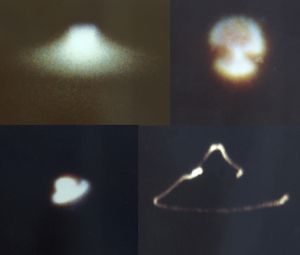 Aircraft-shaped images extracted from Dorothy Izzat's films.