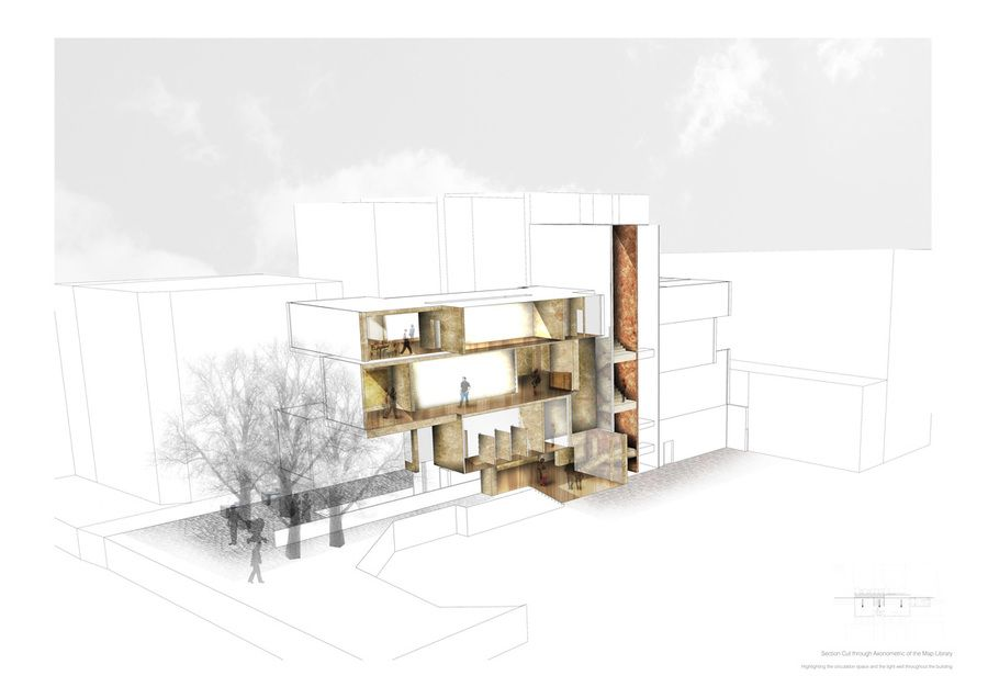 Axonometric drawing of the map library presentation for Architektur axonometrie