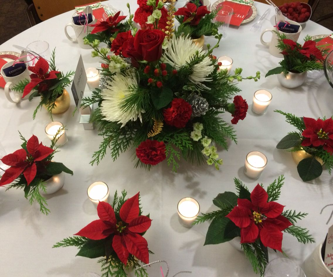 Advent Centerpiece And Take Home Mini Poinsettias Poinsettia Centerpiece Poinsettia Wedding Centerpieces