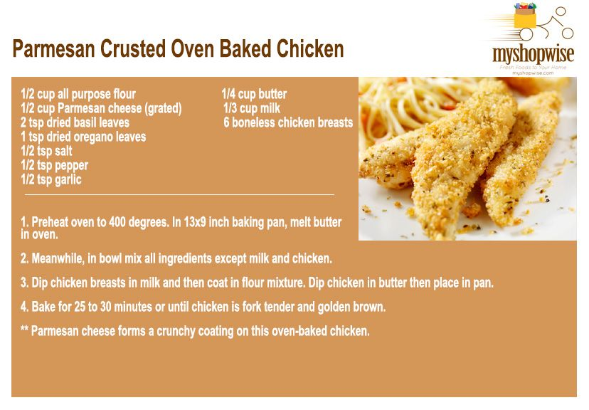 Parmesan Crusted Oven Baked Chicken - YUMMMM - order all ingredients here! www.myshopwise.com