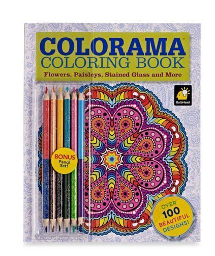 Colorama Adult Coloring Book Kit Kids Art Colored Pencils Stained Glass Paisleys