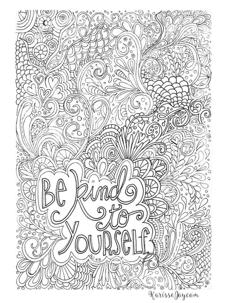 Be Kind To Yourself Coloring Page Coloring Pages Coloring