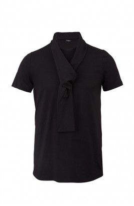 """T-SCARF // Cut in an ultra-comfortable jersey silk and decorated with an integrated scarf, this t-shirt highlight once again the innovation of the designer. He named this piece """" T-SCARF """". Discover the T-shirts collection at shop.frenchdeal.biz"""