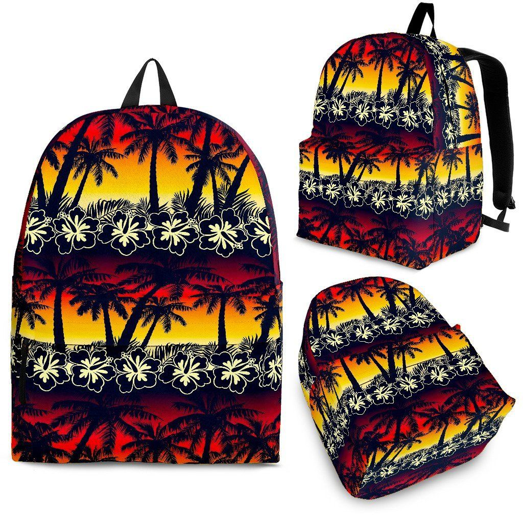 Sunset Hibiscus Palm Tree Pattern Print Backpack