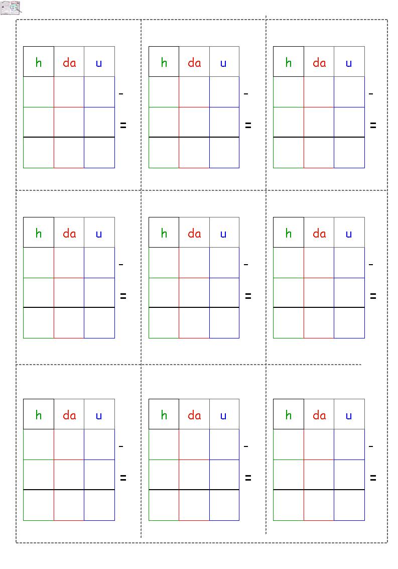 Griglie per sottrazioni in colonna centinaia seconda classe math subtraction math sheets e math - Tavola pitagorica vuota da stampare ...