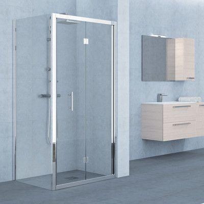 Porta doccia pieghevole Elyt 170 cm, H 190 cm in vetro