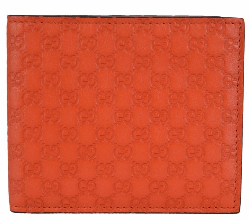 c5333b5970f5 New Gucci 365466 Orange Leather Limited Edition GG Guccissima Bifold Wallet   Gucci  Bifold