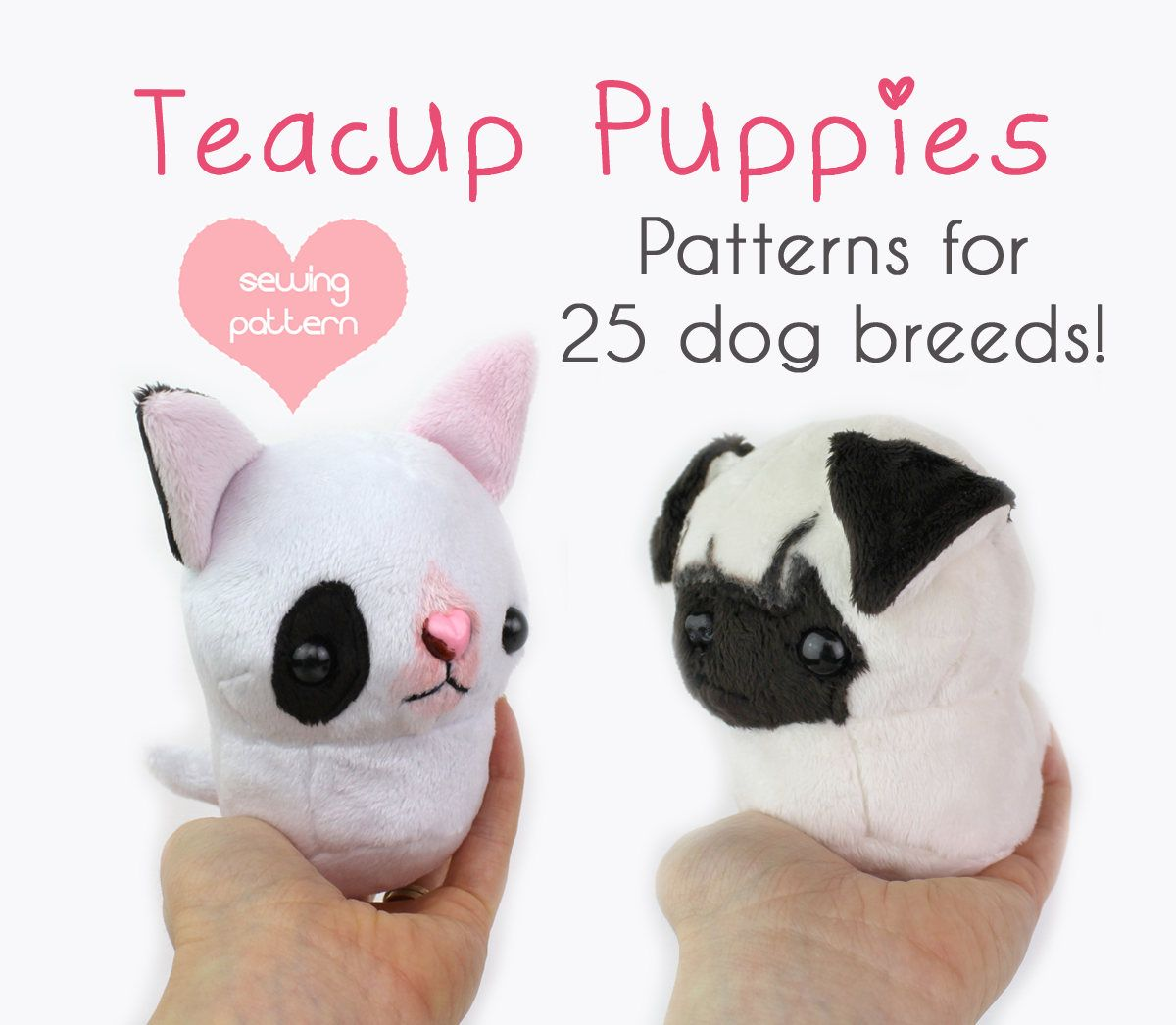 PDF sewing pattern - Teacup Puppy dog stuffed animal plush with ...