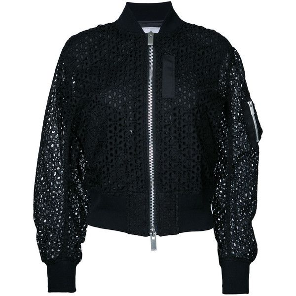 Sacai eyelet lace bomber jacket (€1.045) ❤ liked on Polyvore featuring outerwear, jackets, black, sacai, flight jacket, blouson jacket, zip front jacket and cotton bomber jacket