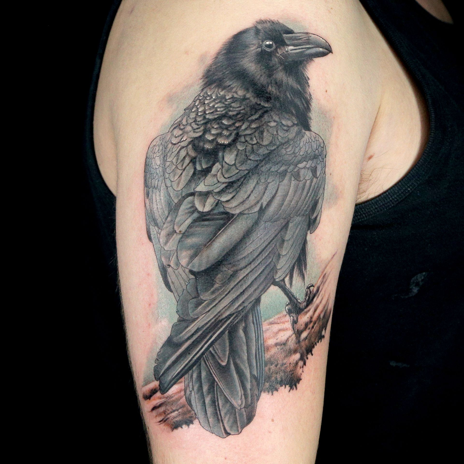 Color Realistic Raven Tattoo By Old Town Ink Bubba Irwin Dj Tambe Raven Tattoo Tattoos Ink Tattoo