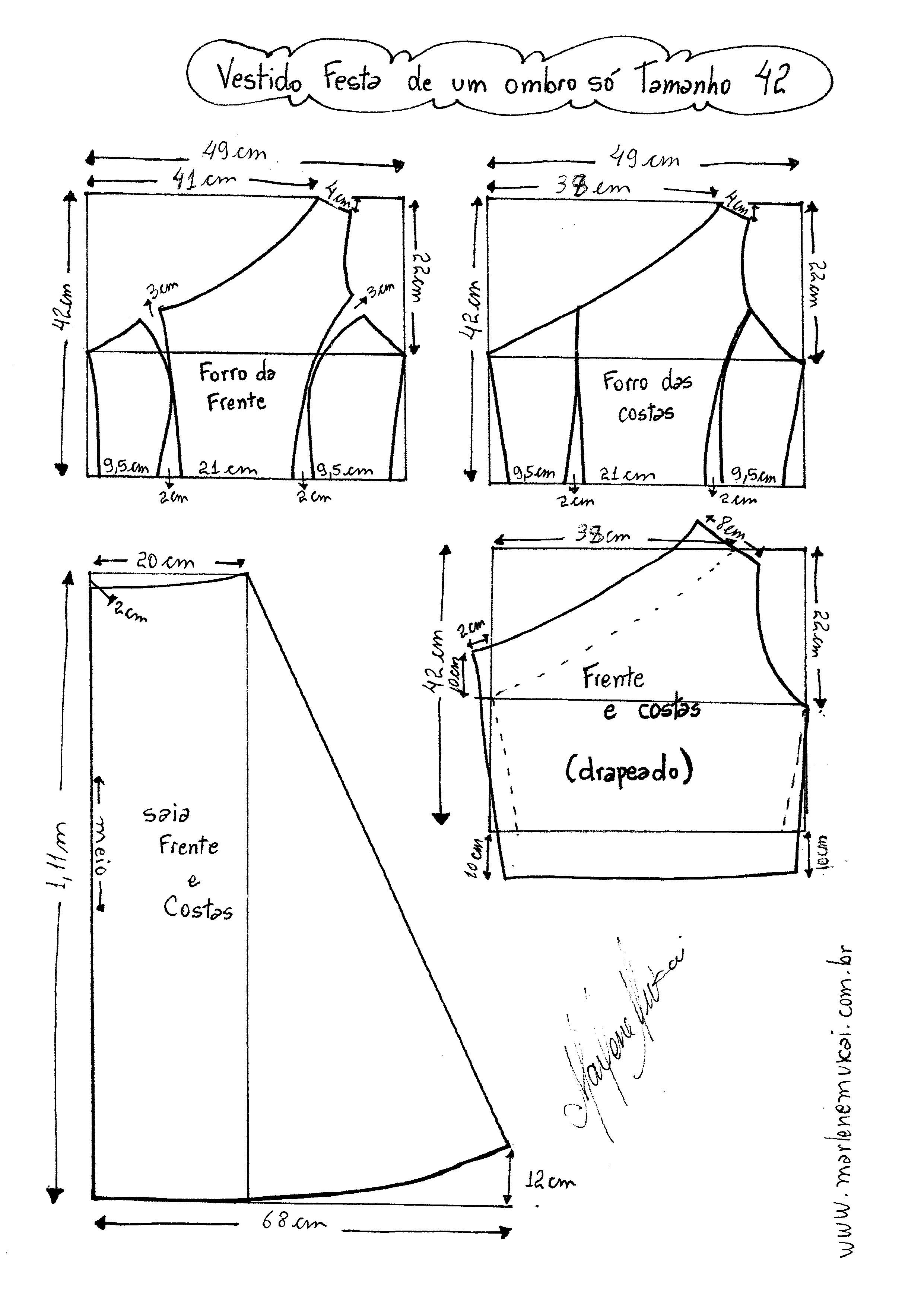 Patrón Vestido de coctel con un solo hombro | patrones mujer | Pinterest