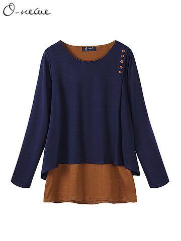 a11aa7eef70f9 Casual Women Mori Pocket O-Neck 3 4 Sleeve Loose Blouse - Newchic Mobile.